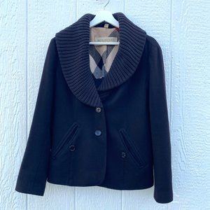 Burberry Brit Wool Coat Knitted Collar Black 10
